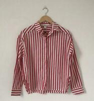 Monki Women Blouse Size 8/10 Red White Stripe Boxy Oversized Shirt Collar