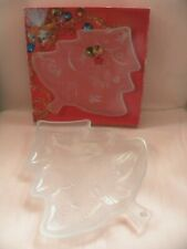 """Mikasa Crystal Christmas Holiday Frosted Tree 13"""" Platter from Marshall Field's"""