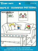 779 Vogart Embroidery Hot Iron Transfer American Designs Heart House Rooster oop