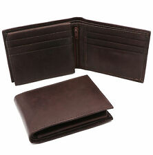 Bifold Hand Crafted Genuine Leather Plain Brown Wallet With Zip - 6 Card Pockets