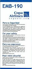 Safety Card - Copa - EMB-190 - 2005 (Panama) (S1844)