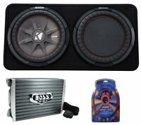 "Kicker 43TCWRT124 1000W 12"" 4-Ohm Slim Shallow Subwoofer+Box+Amplifier+Amp Kit"