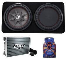 "Kicker 43TCWRT124 1000W 12"" 4-Ohm Slim Shallow Subwoofer+Box+Amplifier+Amp Kit"