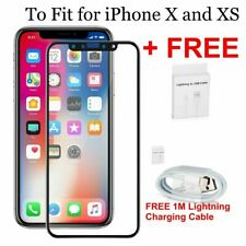 "iPhone X XS Tempered Glass Screen Protector 3D 9H  5.8"" + Charging Cable Lead 1M"