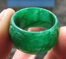 rare Chinese  green hard jade  man or woman hand carved ring sz9