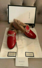 New Gucci Women Jordaan Leather Lamb Fur Slip on Loafers Red Size 39.5 NIB $1100