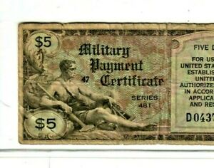 """$5 """"MILITARY PAYMENT"""" (SERIES 481) RARE!! $5 """"MILITARY PAYMENT""""(SERIES 481) RARE"""
