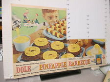newspaper ad 1957 DOLE pineapple canned food can fruit Hawaii barbecue