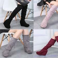 Lady's Winter Suede Platform Wedge High Heel Over Knee Thigh Boots Party Shoees