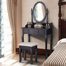 Retro Black Dressing Table Makeup Drawers Desk & Stool with Oval Mirror Dresser