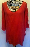 Soft Surroundings Womens Top Sz PL Dark Pink 3/4 Cut Out Sleeves Pocket V-Neck