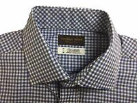 NEW $120 Thomas Dean Shirt Medium Micro Gingham Blue Spread Collar