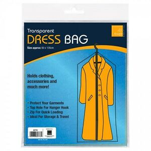 Clothing Protective Clear Dry Cleaning Dress Bag Transparent Size 60x135 Cm