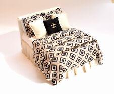Dollhouse Luxury Bed 1:12 CREAM & BLACK Fleur-de-Lis Modern Miniature Double Bed