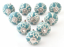 Blue Floral 5/10/15/20 Sets Door Knob Kitchen Deocr Pulls Cabinet Pullers Door