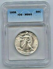 1938 Walking Liberty 50C Half Dollar ICG MS 65