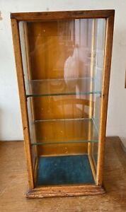 Vintage Antique Shop display cabinet case oak and glass wood