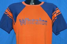 vintage 70s Wheaton Orange Blue Cotton Rayon Jersey Raglan t-shirt Large L
