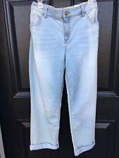 New $99 Chico's Platinum Denim Roll Cuff Ankle Crop Blue Jeans 2 = L 12 14 NWT