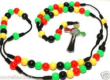 Religious Rosary necklace Rasta colors black red green yellow St Benedict Cross