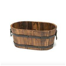 Cedar Wooden Whiskey Barrel Pot Planter Outdoor Garden Lawn Plant Flower Decor
