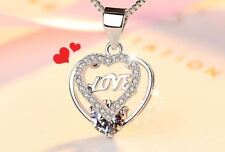 Love Heart 925 Sterling Silver Pendant Necklace Chain Lady Women Jewellery Gifts