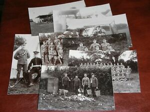 EIGHT ORIGINAL REAL PHOTO MILITARY POSTCARDS - SOMERSET YEOMANRY ?