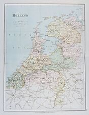 OLD ANTIQUE MAP HOLLAND NETHERLANDS c1879by G PHILIP PRINTED COLOUR