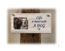 PERSONALISED PLAQUE, SIGN. PHOTO & QUOTE. Life is better with a DOG. Gift