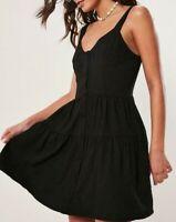 MISSGUIDED Black Ruffle Button Through Mini Dress  UK 12 US 8 EU 40  (plt42)