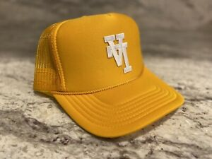 UPSIDE DOWN LA YELLOW GOLD CAP HAT 5 PANEL HIGH CROWN TRUCKER SNAPBACK VINTAGE