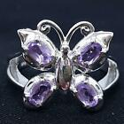 World Class 1.00ctw Amethyst 925 Sterling Silver Butterfly Ring Size 8 5.6g
