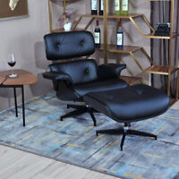 Classic Eamss Style Lounge Chair & Ottoman 100% Top Grain Leather Black Color