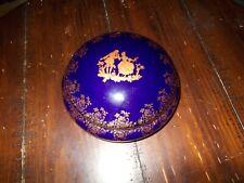 LIMOGES  GOLD TRIM PORCELAIN BLUE COBALT  COVERED BOWL   LOVERS SCENE