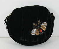 Steve Madden NWT $78 Black Velvet Lotus Mini Top Zip Canteen Crossbody Sequins