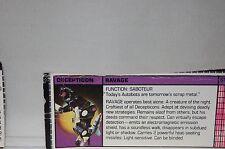 1984 Hasbro G1 Transformers Decepticon Ravage **Tech Specs ONLY**