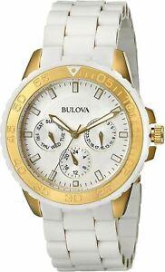 Bulova 98N102 40mm Women's Watch Ladies Stainless Steel Bracelet White/Golden