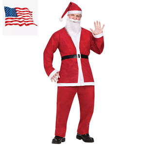 Santa Claus Costume Adult Suit Christmas Outfit Fancy Dress US Shipping