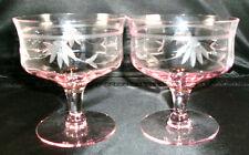 2 VINTAGE PINK TIFFIN-FRANCISCAN FLORAL CUT LOW SHERBET GLASSES! STEM #14188-2