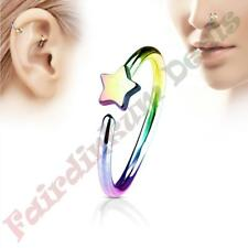 316L Surgical Steel Rainbow Ion Plated Nose & Ear Cartilage Ring with Star