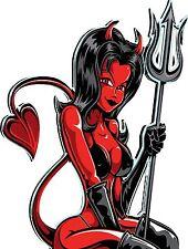 RED DEVIL GIRL, GUITAR , WALL,CAR ,VAN, LAPTOP, BIKE,STICKER
