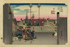 Japanese Art: Hiroshige: Crossing the Nihon Bridge (Nihonbashi) - Art Print