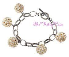 Designer Gold Pl Fireball Shamballa Charms Toggle Bracelet w/ Swarovski Crystals