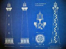 "Cape Hatteras North Carolina Lighthouse 1870 Blueprint Plan 24""x18"" PlanB (265b)"