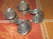 WHOLESALE LOT OF 4 SILVER PLATED FLORAL SPOON RINGS SIZES 5-10 ADJUSTABLE