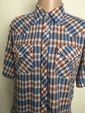 EXCELLMODE WESTERN WEAR ROSE PEARL SNAP S/S WESTERN PLAID SHIRT ~ Thin ~ Large
