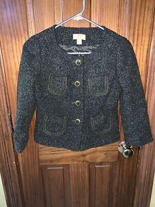 Womens ANN TAYLOR LOFT Green Wool Formal Jacket Blazer Coat - Size 2P Petite
