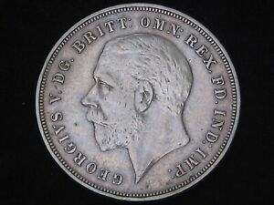 "Great Britain UK 1935 George V ""Jubilee"" Silver Crown Lightly circulated VF-EF"