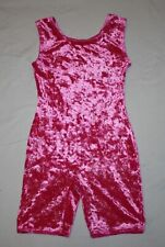 Girl Hot Pink Velour Sparkle Jacques Moret Biketard Dance Ballet Size L 10/12