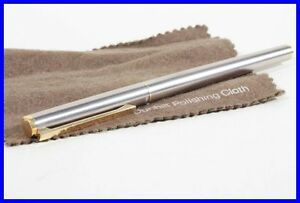 DUNHILL fountain pen, in steel & gold / made by MONTBLANC F 18K intarsia nib